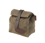 The Lunch Bag by Frost River is made of waxed canvas and closed with a leather strap and leather tab.