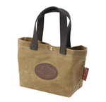 The Lunch Tote by Frost River is made of waxed canvas and closed with a solid brass snap. This item has cotton webbed carrying handles and is also available in hunter orange.