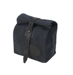 The Lunch Bag SB in heritage black by Frost River is made of waxed canvas and closed with a leather strap and solid brass post.