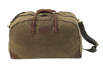 The Large flight bag is crafted from waxed canvas, leather, and solid brass hardware. This bag is large enough to hold whatever you may need.