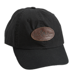 Black, Leather Logo Cotton Cap