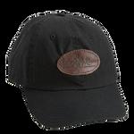 Black, Leather Logo Cotton Cap