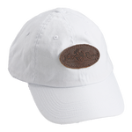 White, Leather Logo Cotton Cap