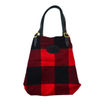 Woolrich Wool Bazaar Tote, snapped. This tote has 2 set of snaps to secure and compact the top.