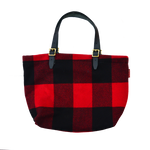 Woolrich Wool Bazaar Tote, back. Hand crafted