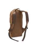 """High Falls -short day pack No.399 by Frost River backside view. Field tan waxed canvas with shoulder straps of the same material then reinforced with dark green cotton web. The web on the shoulder straps is divided into segments to provide attachment points for a water bladder hose or the attachment of other gear to the straps. Length of the shoulder straps is adjusted with twin D-rings cinching the 1"""" web."""