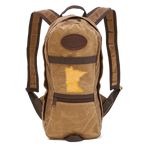 High Falls Short-Daypack with Minnesota Buckskin State Patch included. Made of both heavyweight and lightweight waxed canvas and handcrafted by Frost River in Duluth, Minnesota.