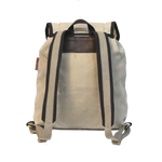 Frost River Rucksack, Back. Natural colored heavyweight waxed canvas with two-tone backstraps