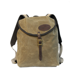 Frost River Rucksack, Front. Khaki colored heavyweight waxed canvas.