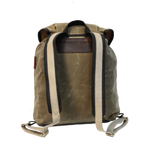 Frost River Rucksack, Back. Khaki colored heavyweight waxed canvas with two-tone backstraps.