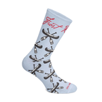 Frost River Custom Socks - All-over canoes on light blue. Made in USA by Hippy Feet.