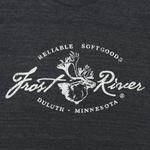 Tri-Black Women's Frost River Distressed Logo T-shirt.