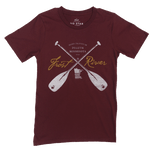 Men's Burgundy Frost River Crossed Paddles T-Shirt.