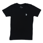 Front, Black Henry Stacked Logo T-Shirt.