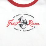 Onesie with the classic Frost River Logo.