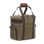 No. 972, Thunder Bay Bomber Bag back, slip pocket and cord and barrel for exterior attachments. Grab handles and D-rings for transportation.