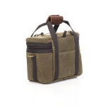No. 970 Agate Bay 12 Can Bag back, Premium Leather cuff works great for transporting by hand.