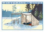 Wintering in the Woods Postcard Front, illustrated by Duluth's Rick Kollath
