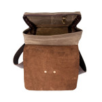 Interior of the Lookout Daggett Daypack, hanging zippered pouch at the back and a solid brass swivel hook at the front for keys.