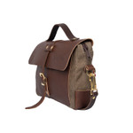 Naturalist Baggley Brief side, premium leather top flap, base, and front pocket.