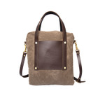 Ranger Hodges Handbag front, Made in USA of premium and durable leather and waxed canvas.
