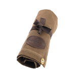 This item rolls up well and the cotton webbed ties keep it compact. The Utensil Roll is made of waxed canvas and sure to last for years to come.