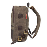On either side of the Devil's Kettle is leather lash squares and a solid brass g-hook for external pack additions.