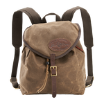 The Knapsack is securely closed with a drawstring and leather buckle. The interior is large enough for a lunch, book, and jacket, perfect for a light daypack.