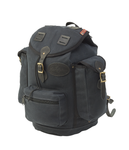 The Summit Expedition Pack in heritage black is made from waxed canvas, premium leather, and solid brass hardware.