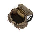 An interior view shows a large storage cavity with a small zipper pouch to hold all of the essentials for your day.