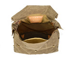 An inside view reveals the large volume of storage and one long slip pocket to help maintain organization within the pack.