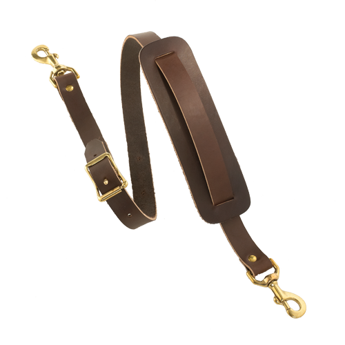 Premium Bridle Leather Shoulder Straps. The solid brass hardware and leather make this product strong and durable.
