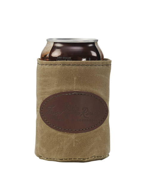 The Can Insulator is made in America from waxed canvas and insulated with foam to keep the beverage cool.
