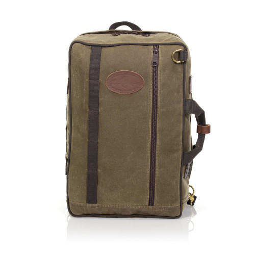 The front of the bag has a long zipper pocket, webbed cotton organizing features, and two D-rings to attach a shoulder strap to carry this bag like a duffle.