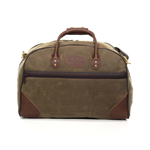 The Field Tan Curtis Flight Bag in the size carry on has leather on the bottom corners to keep the bag upright when standing by itself. The Front of the bag has a zipper pocket for important items or to store the shoulder strap when not in use.