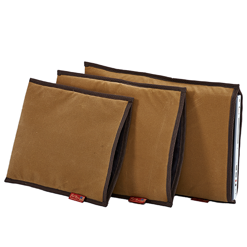The Insert Padded Sleeve is available in three sizes to fit more laptops sizes. This item is padded with foam and able to protect against temperature variations and bumps. The padded sleeve is made of waxed canvas and crafted in Duluth, MN.