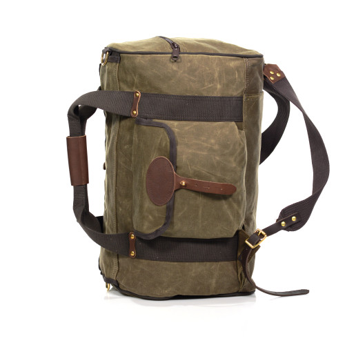 This is a standard duffel with a cylindrical shape, robust web grab handles, D-rings at each side to use with the included shoulder strap. What really set the ESB's apart are the 'stowable' backstraps that work to turn the bag into a pack to wear on your back. There's also an exterior sleeve on the bottom to store the straps when you're not using it as a pack.