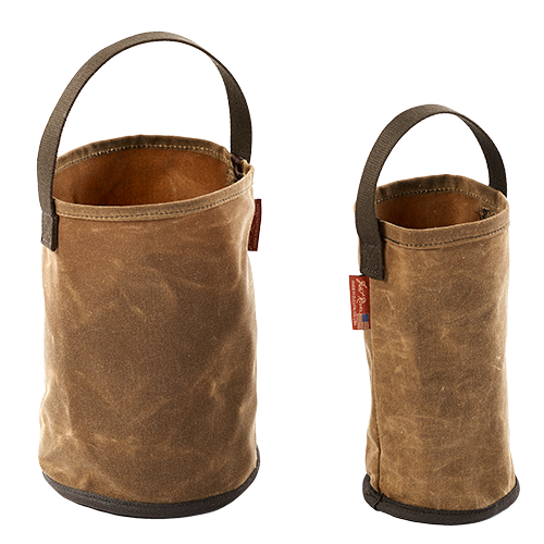 The canvas buckets are made of water resistant waxed canvas and come in two different sizes, gallon and half gallon.