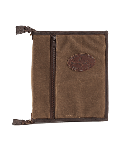 This unique portfolio has a zipper pouch on the front and a zipper down the middle to enclose the binder and its contents.