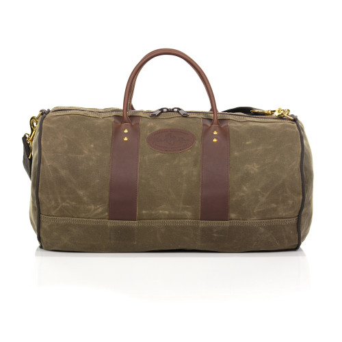 Im Out Duffel bag family by Frost River. ImOut Small No.691, ImOut CarryOn No.693 and ImOut Large No.690. All are made in the USA at Frost River in Duluth, Minnesota from waxed canvas, solid brass hardware and premium leather.