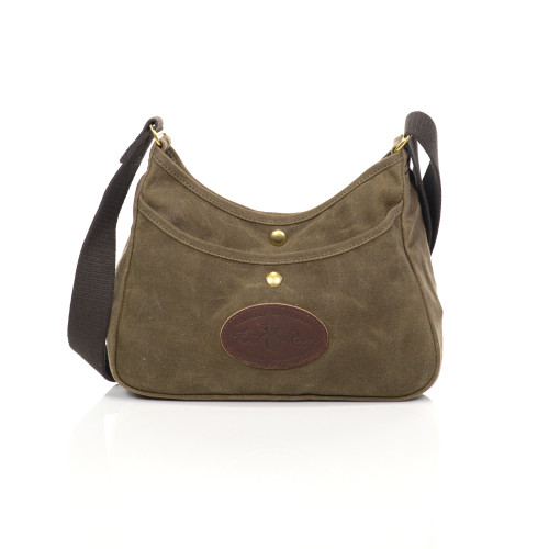 The cotton webbed shoulder strap on the large Crescent Lake  Shoulder Bag adds comfort to this durable and strong bag.
