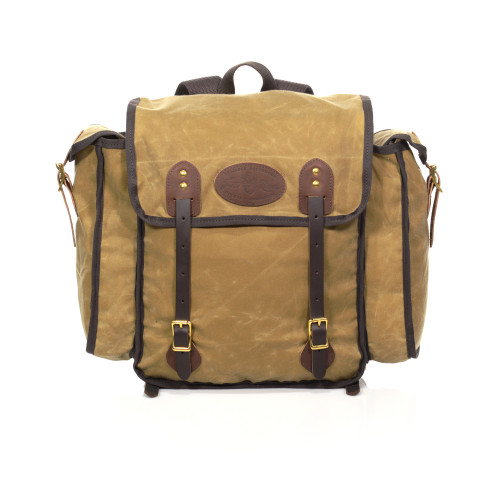 The premium leather, water resistant waxed canvas, and solid brass hardware make up this unique and resilient pack.