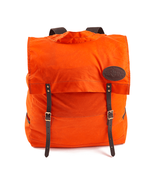 The hunter orange waxed canvas is high quality and is sure to keep you and your items safe on your journey.
