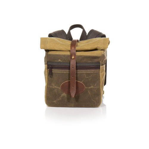 The Skyline Rolldown Backpack is made of waxed canvas, solid brass hardware, and premium leather.