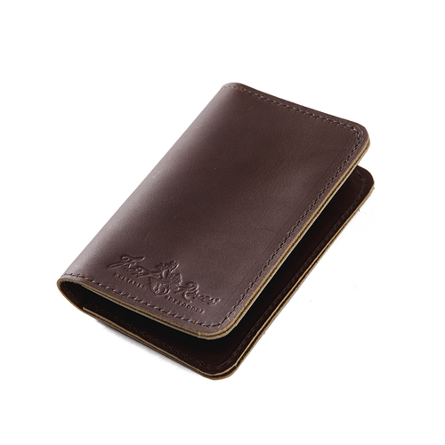 The Pocket Folio by Frost River in Boomer Brown is crafted from premium leather and hand stamped with the Frost River logo.