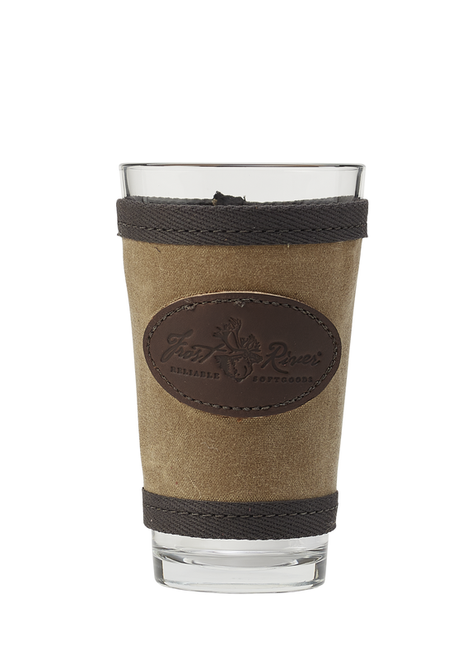 Waxed cotton canvas pint sleeve. Made in USA By Frost River. This accessory will keep your pint cool.