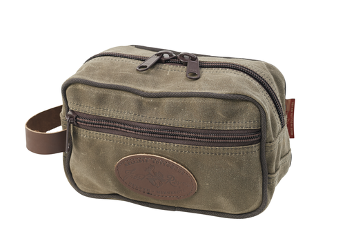 The Standard Travel Kit is made of water resistant waxed canvas and has a leather handle on the side. This item is made in the USA by artisans at Frost River.