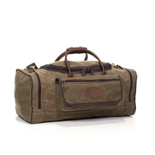 The Laurentian luggage is crafted from waxed canvas, premium leather, and solid brass hardware. This item is durable and strong.