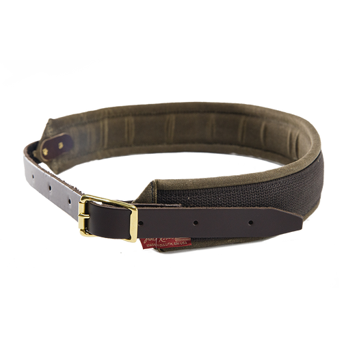 The Padded Cotton Waist-belt is crafted from premium leather, webbed cotton, waxed canvas, and solid brass hardware. This item is made in Duluth, MN at Frost River.