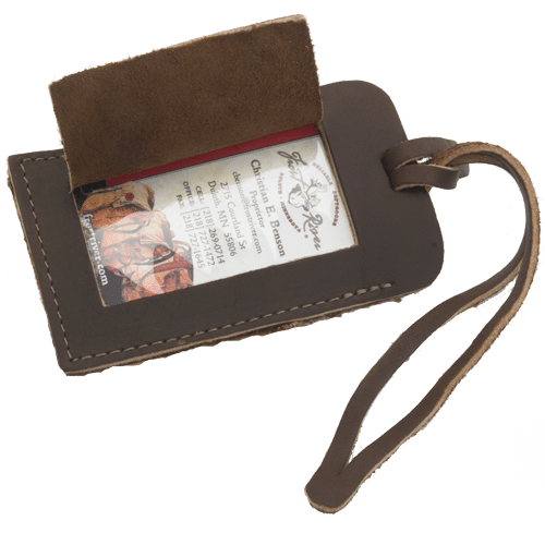 Premium leather luggage tag handcrafted in USA by Frost River.